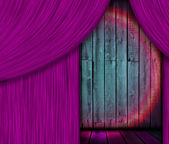 Wooden Stage Behind Purple Curtain — Stock Photo