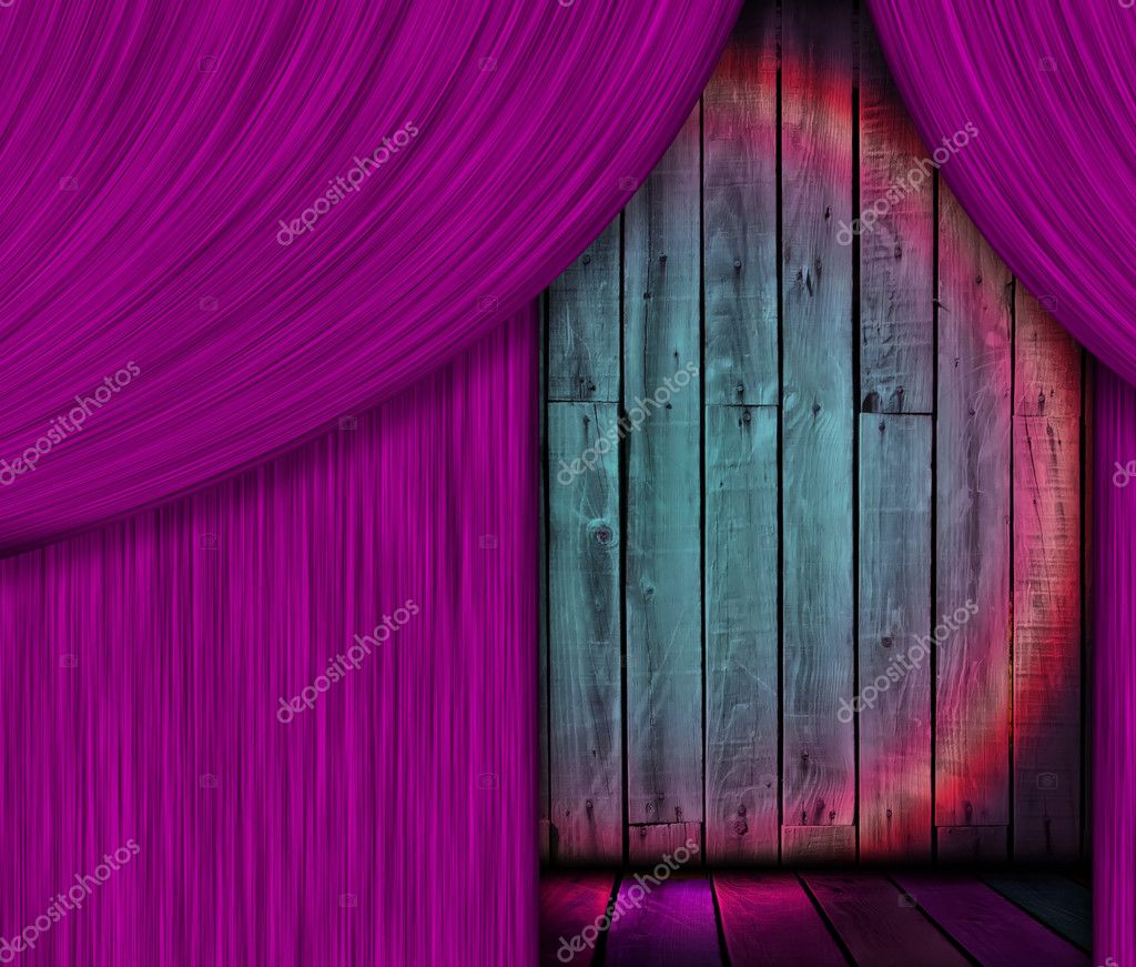 Purple stage curtains wooden behind pictures