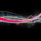 Linee emettente luce multicolore nero — Foto Stock