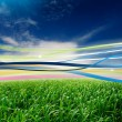 Ribbons in Wind in Green Field — Stockfoto #3212601