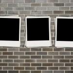 Photos on Brick Background — Stock Photo