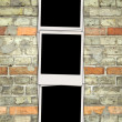 Blank Photos on Brick Wall — Stockfoto