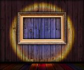 Blank Frame in Wooden Room — Stock Photo