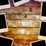 Blank Photos on Wooden Wall — Stock Photo #3821718