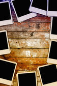 Blank Photos on Wooden Wall — Stock Photo