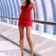 Walking woman in red dress - Foto de Stock