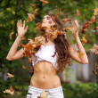 Happy girl throwing autumn leaves - Stock Photo