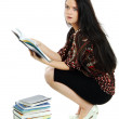 Woman with the book in hands — Stock Photo