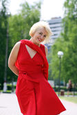 Woman in red dress — Stock Photo