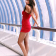 Lady in red dress — Stock Photo