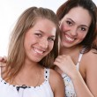 Couple women - blonde against the brunette — Stock Photo