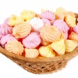 Basket isolated marshmallow — Stock Photo