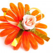 Artificial orange flower — Stock Photo