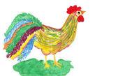 Cock drawn — Stock Photo