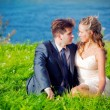 Stock Photo: Wedding couple on grass