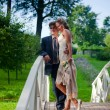 Wedding couple on a bridge — Stock Photo #3182558