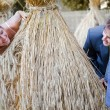 Wedding couple behind hay stack — Stock Photo