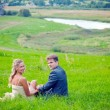 Wedding couple on grass — Stock Photo #3182574