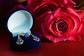Sapphire with red rose — Stock Photo
