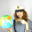 Stock Photo: Girl with globe in hands