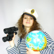 Young girl with the globe in a hand — Stock Photo