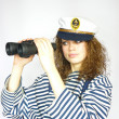 Royalty-Free Stock Photo: Young sailor girl  with binoculars