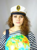 Girl and the earth globe — Stock Photo
