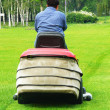 Person shears lawn-mower lawns — Stock Photo #3146553