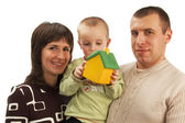 Happy family in search of lodging — Stock Photo