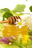 Miscellaneous herbs honey — Stock Photo