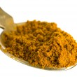 Curry spice in spoon — Stock Photo