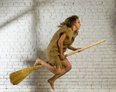 Flying the broom — Stock Photo