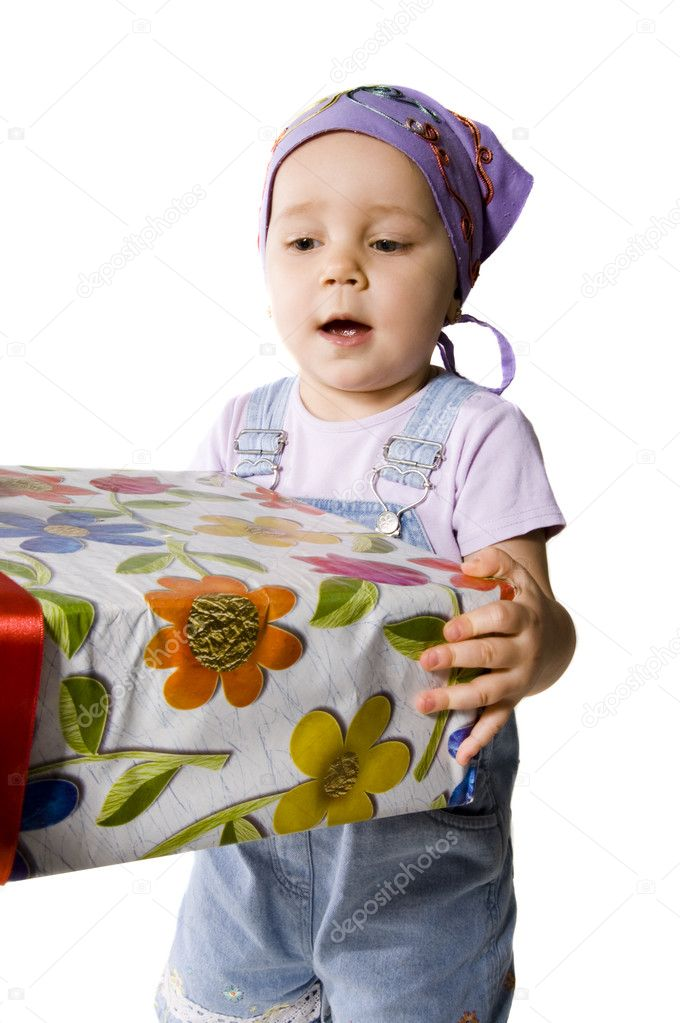 Baby with gifts — Stock Photo #4303708