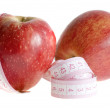 Apples and Measuring Tape isolated — Stock Photo