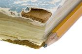 古い本と鉛筆 — ストック写真
