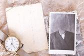 Retro fotocollage met kloon uit gezicht — Stockfoto