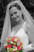 Gelin düğün buketi ile — Stok fotoğraf