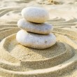 Three sea pebble balanced — Stock Photo