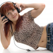 Girl in headphone — Stockfoto