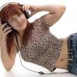 dívka v sluchátka — Stock fotografie