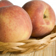 Peaches in pan — Stock Photo