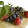 Bilberries,blackberry and raspberries — Stock Photo