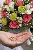 Wedding rings in hand — Stock Photo