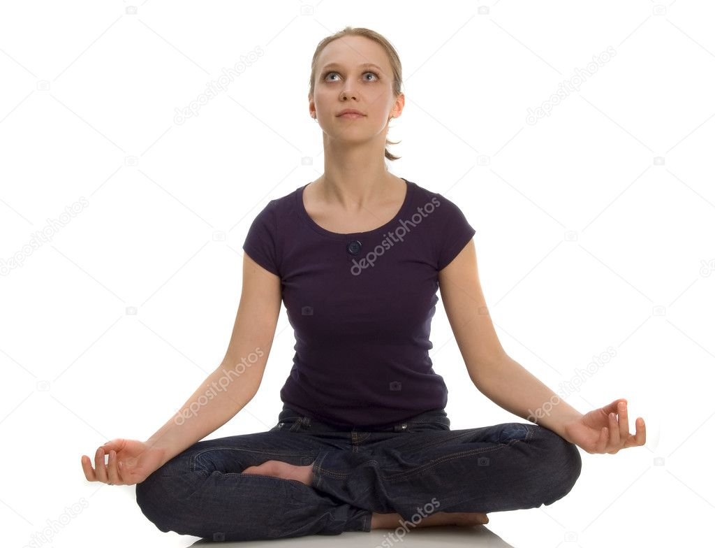 Woman sitting in lotus position — Stock Photo #4320202