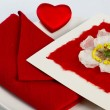Valentine's Day Card on plate — Stock Photo