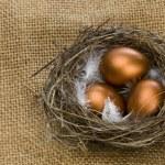Golden eggs in nest — Stock Photo #4366447