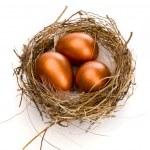 Golden eggs in nest — Stock Photo #4366485