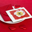 Valentine's Day Card on plate — Foto Stock