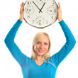 Girl with clock — Stock Photo