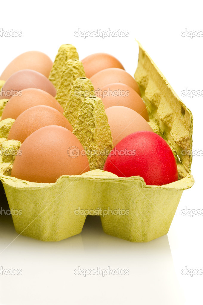  egg box, differ one.  Stock Photo #4371173